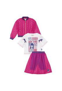 Conjunto 3Pçs Blusa Saia Jaqueta New York Rosa Animê 8 Rosa