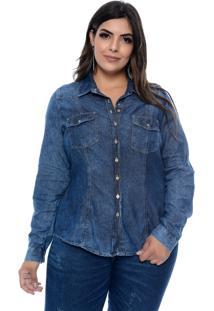 Camisa Cambos Jeans Plus Size Stone Manga Longa Azul
