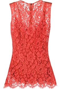 Dolce & Gabbana Floral Lace Embroidered Sleeveless Blouse - Vermelho