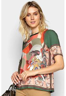 Camiseta Colcci Estampada Feminina - Feminino-Bege+Verde