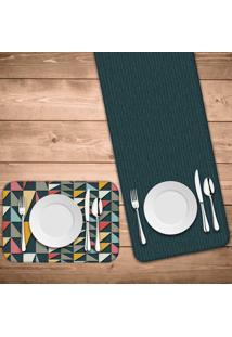 Jogo Americano Com Caminho De Mesa Wevans Geometric Color Kit Com 4 Pã§S + 1 Trilho - Multicolorido - Dafiti