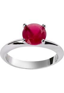 Anel Solitário The Ring Boutique Pedra Cristal Vermelho Rubi Ródio Ouro Branco