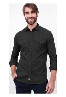 Camisa Slim Em Sarja