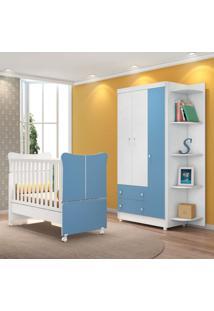 Quarto De Bebê Guarda Roupa Com Cantoneira Doce Magia 3 Portas E Berço Branco/Azul - Qmovi