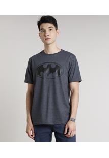 Camiseta Masculina Batman Manga Curta Gola Careca Cinza Mescla Escuro