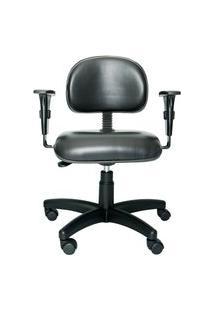 Cadeira Secretária Bits. Couro Ecológico. Braços Ajustáveis. Ajuste Da Altura Do Encosto E Assento. Estrutura E Base Preta. Rodízios. Prolabore Produtos Ergonômicos