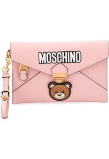 Moschino Clutch Teddy Com Logo - Rosa