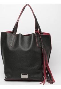 Bolsa Em Couro Com Bag Charm - Preta & Vermelha- 32Xmr. Cat