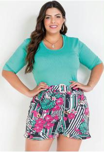 Body Turquesa Mangas 3/4 Plus Size