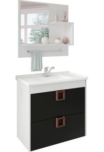 Conjunto De Banheiro Lirio Branco E Preto