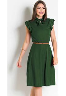 Vestido Moda Evangélica Verde Com Gola Laço