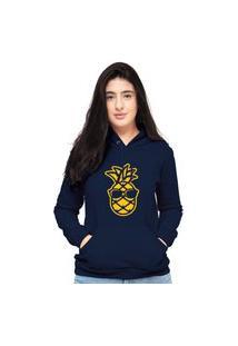 Blusa Moletom Feminino Azul Marinho Abacaxi