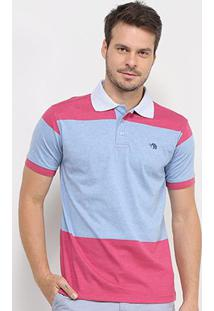Camisa Polo Gajang Bicolor Manga Curta Masculina - Masculino-Marinho