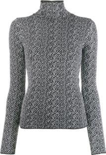 Versace Suéter De Tricô Chevron - Preto
