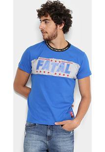 Camiseta Fatal Recorte Stars Gola Personalizada Masculina - Masculino-Azul Royal