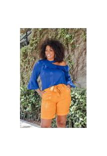 Shorts Meia Coxa Almaria Plus Size Uva Doce Faixa Amarelo