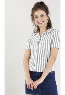 8fb41a958 ... Camisa Feminina Cropped Listrada Com Bolso Manga Curta Off White