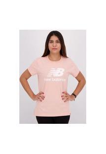Camiseta New Balance Essentials Stacked Feminina Rosa