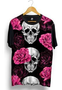 Camiseta Bsc Skull Pink Rose Full Print - Masculino-Preto
