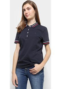 Camisa Polo Tommy Hilfiger Listras Feminina - Feminino-Azul+Marinho