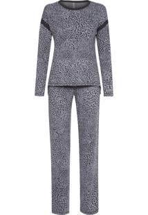 Pijama Feminino Malha Tricot Joanesburgo - Animal Print