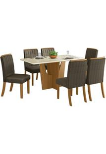 Sala De Jantar Mesa Retangular Vértice 160Cm Com 6 Cadeiras Tauá Natur