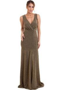 Vestido Longo Izad Em Lurex Decote V Traspassado Feminino - Feminino-Preto