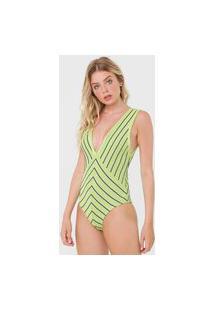 Body Tricot Morena Rosa Listrado Verde/Roxo