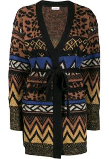 Twin-Set Jacquard-Knit Cardigan - Marrom