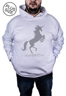 Blusa Outletdri Moletom Fechado Estampado Estampa Fire Unicorn Cinza