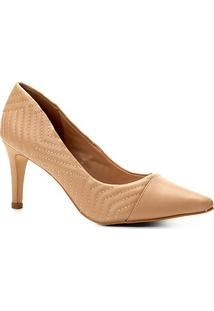Scarpin Couro Shoestock Salto Alto Matelassê - Feminino-Bege