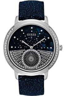 Relógio Guess Pulseira De Couro Feminino - Feminino-Azul Escuro