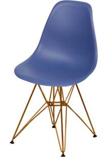 Cadeira Eames Polipropileno Azul Marinho Base Cobre - 49368 - Sun House