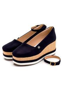 Sapatilha Anabela Casual Batta Shoes Palmilha Macia Salto Alto Azul Marinho