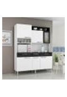 Cozinha Compacta Regina 6 Pt 3 Gv Branca E Preta 155 Cm
