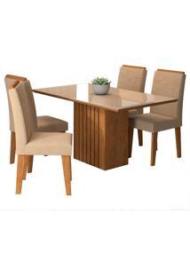 Conjunto De Mesa Com 4 Cadeiras Para Sala De Jantar 130X80 Ana/Tais-Cimol - Savana / Offwhite / Caramelo
