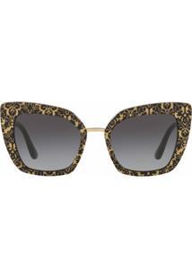 Dolce & Gabbana Eyewear Óculos De Sol Oversized Com Glitter - Preto
