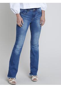 Calça Jeans Feminina Flare Cintura Alta Com Barra Desfiada Azul Médio