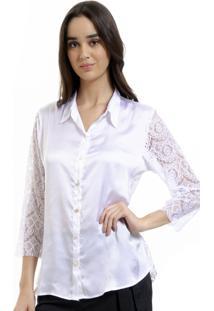 Camisa 101 Resort Wear Cetim Renda Branco