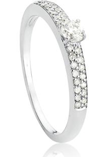 Anel De Ouro Branco 18K Solitário Com Aro Pavê De Diamantes-Coleção Diamantes.