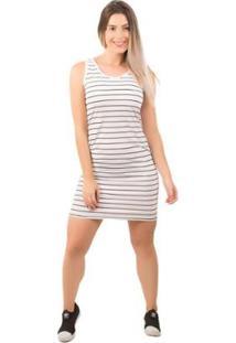 Vestido Bella Fiore Listrado Casual - Feminino-Branco