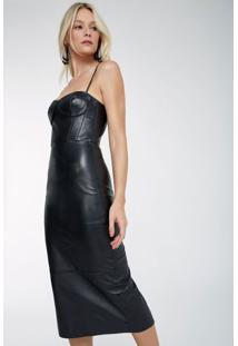 Vestido Bustier Midi Couro Preto - M