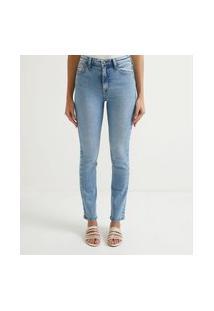 Calça Reta Jeans Com Elastano E Cintura Alta | Marfinno | Azul | 36