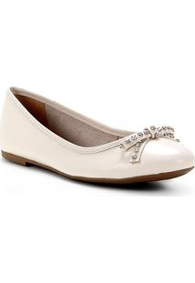 Sapatilha Couro Shoestock Bico Redondo Laço Strass Feminina - Feminino-Off White
