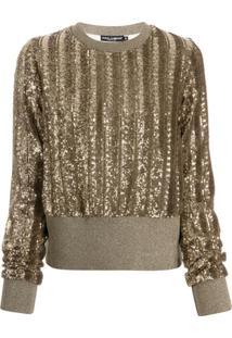 Dolce & Gabbana Suéter Com Paetê - Dourado