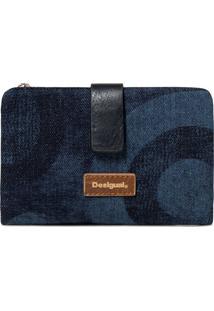Carteira Desigual Mix Jeans Azul - Azul - Feminino - Dafiti