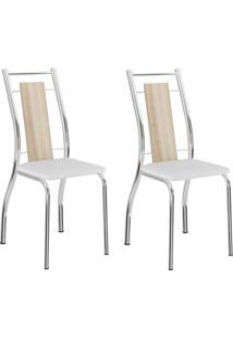 Kit 2 Cadeiras 1720 Branco/Cromado - Carraro Móveis
