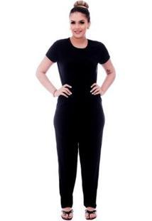 Pijama Feminino Blusa Viés Calça Comprida - Feminino-Preto