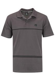 Camisa Polo Hd Simple Stripe - Masculina - Cinza Escuro