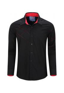 Camisa Masculina Assimétrico Manga Longa - Preto